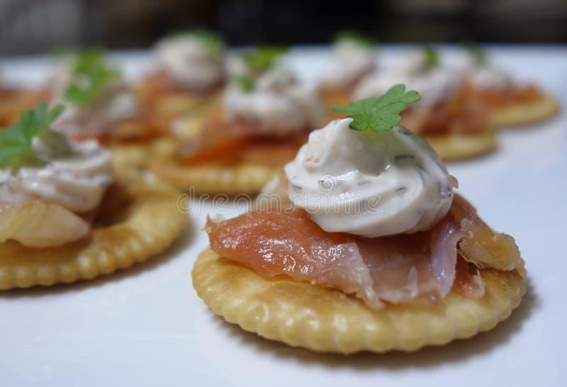 Smoked Salmon Canapes. Stock Photo