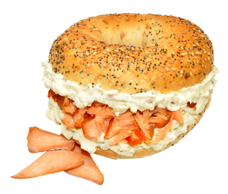 Smoked Salmon And Cream Cheese Bagel Sandwich stock photography
