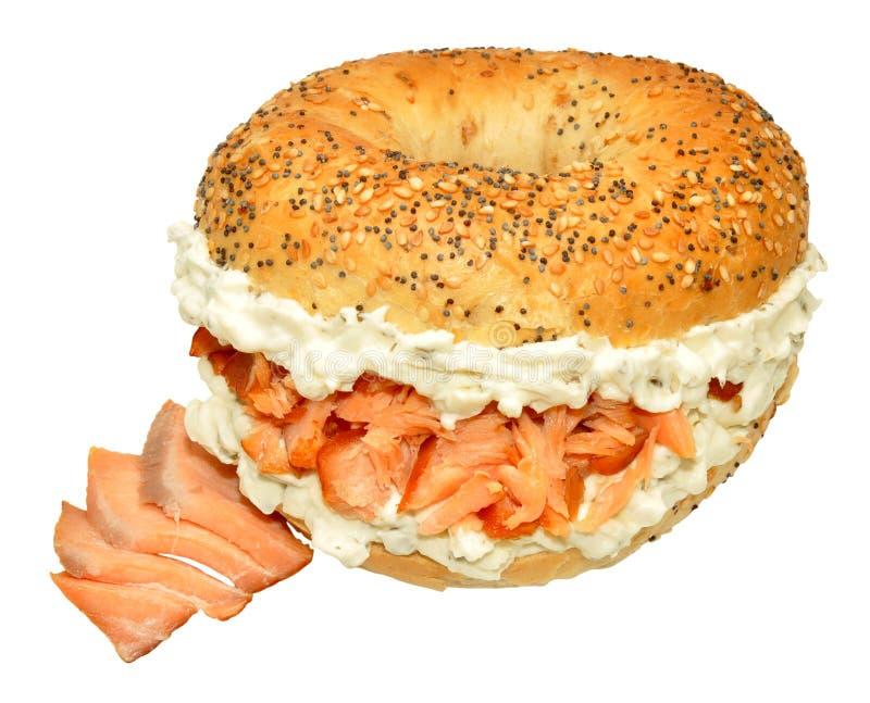Smoked Salmon And Cream Cheese Bagel Sandwich stock photos