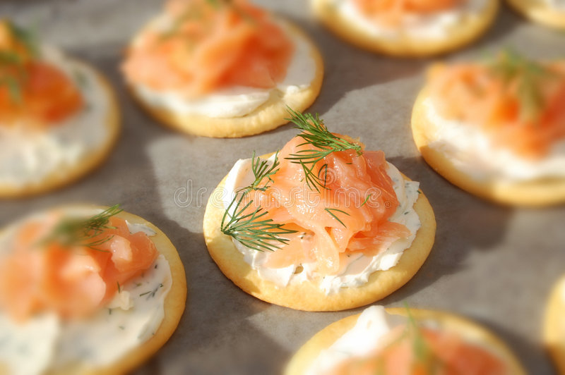 Smoked Salmon, Cream Cheese, And Dill Crackers Stock Photography