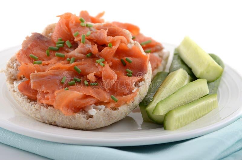 Smoked Salmon On English Muffin Royalty Free Stock Photos