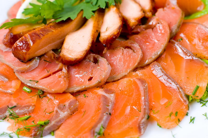 Smoked salmon, macro stock image