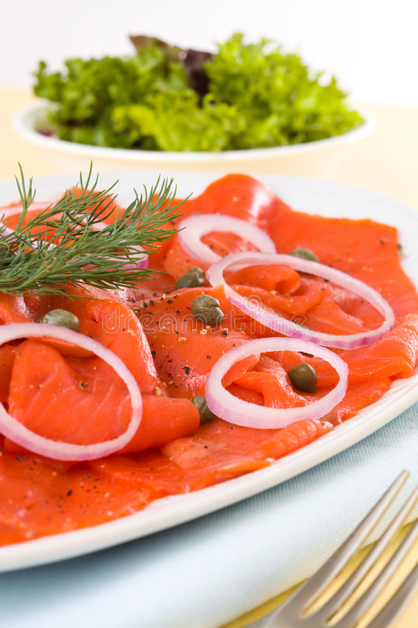 Free Smoked Salmon Meal Royalty Free Stock Photography - 19258137