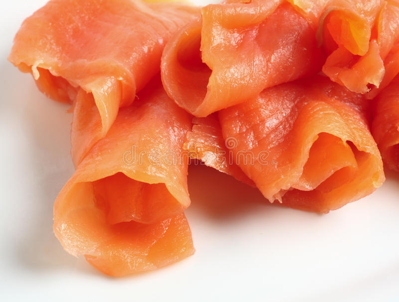 Smoked Salmon Parcels Stock Photo