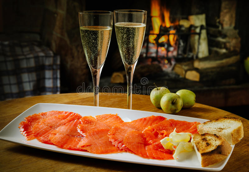 Smoked salmon on plate royalty free stock images