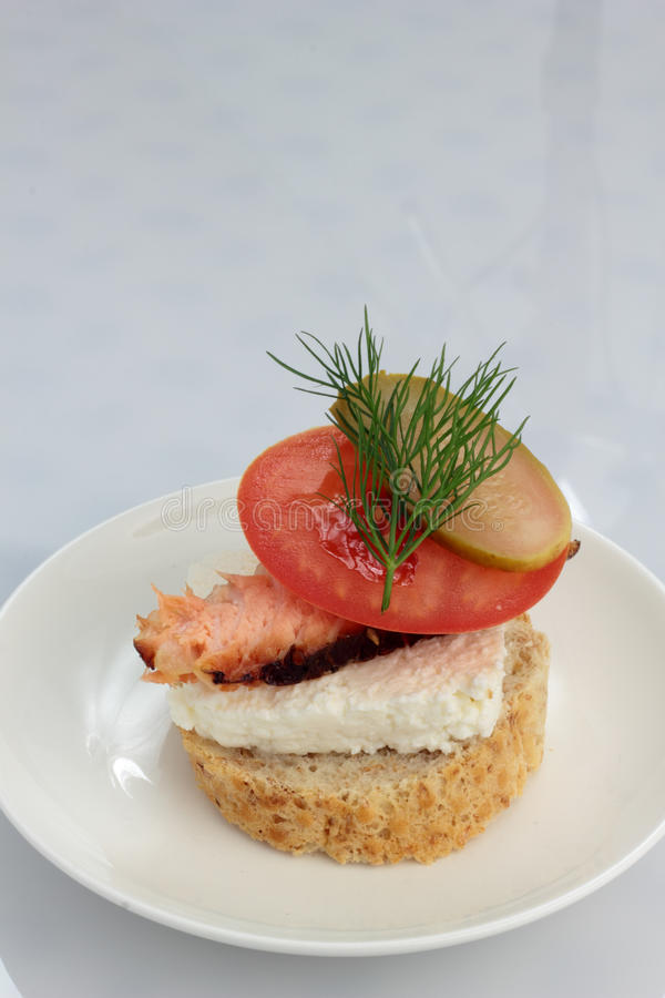 Smoked salmon roll. royalty free stock images