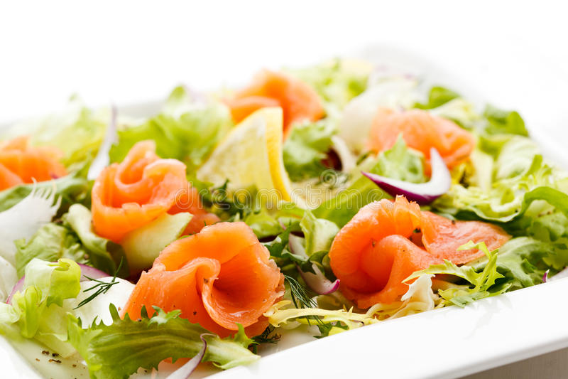 Download Smoked salmon salad stock image. Image of green, appetizing - 20263867