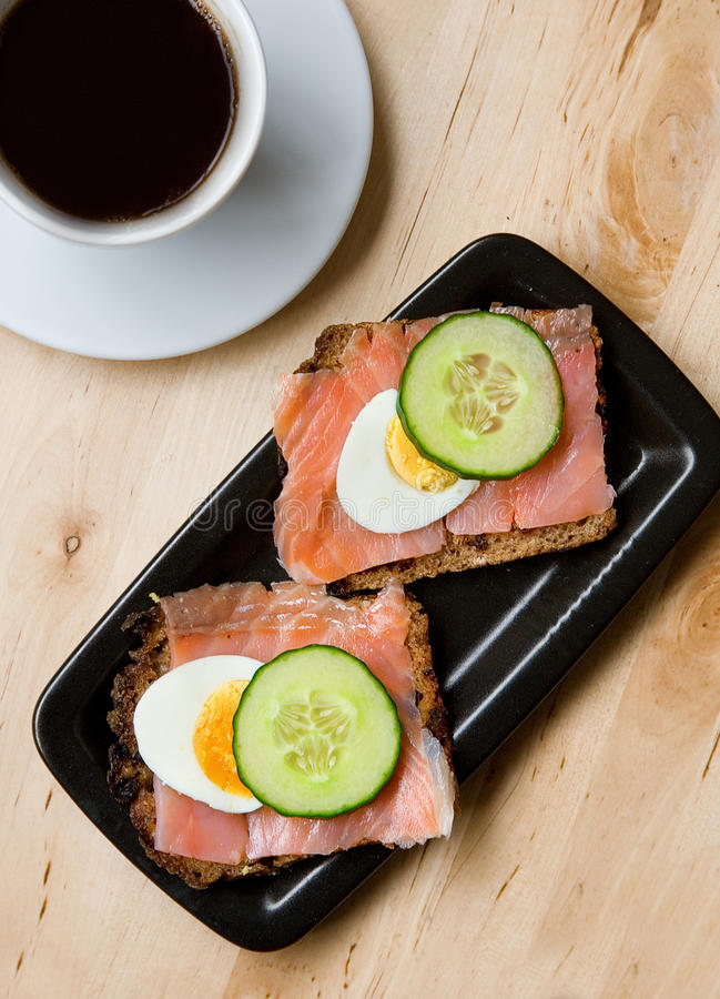 Download Smoked Salmon Sandviches And Coffee Stock Photo - Image of nutrition, fish: 10528200