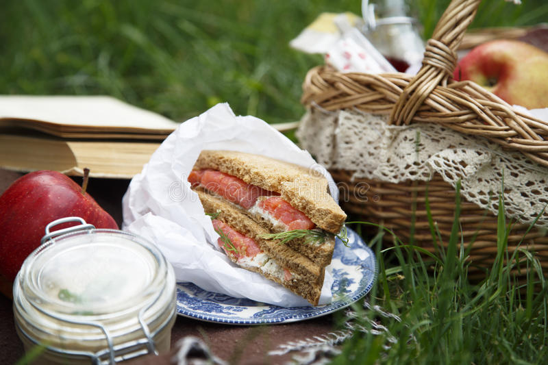 Smoked salmon sandwich for picnic royalty free stock photography