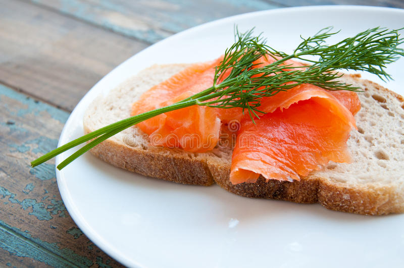 Download Smoked Salmon On Sourdough Bread. Royalty Free Stock Photos - Image: 26284858