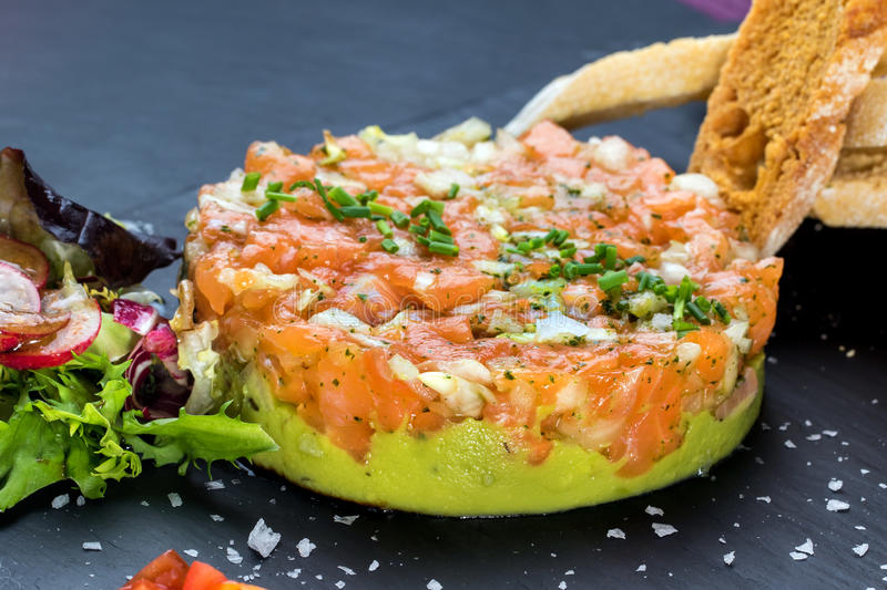 Smoked salmon tartare. stock photo