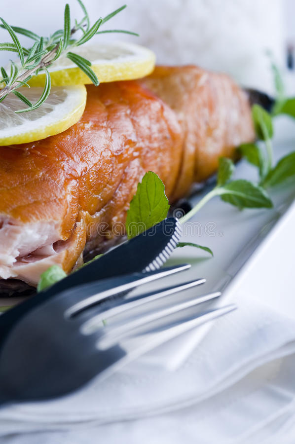 Download Smoked Salmon With White Sauce Royalty Free Stock Photo - Image: 24811785