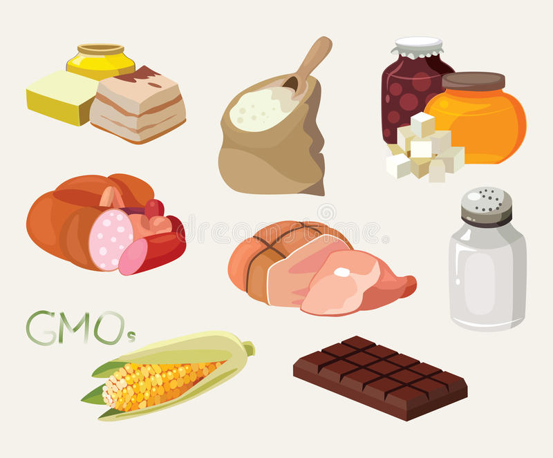 Smoked, salt, chocolate, sausage, fats, GMOs, sweets, semolina royalty free illustration