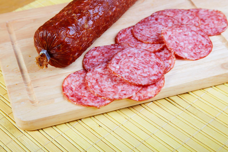 The smoked sausage cut stock images