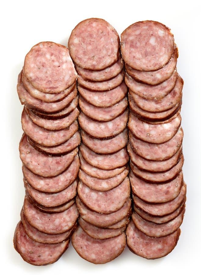 Smoked sausage slices stock image
