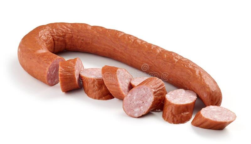Smoked sausage on white background royalty free stock photos