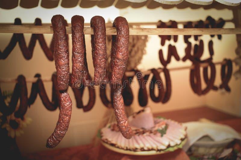 Smoked sausages royalty free stock photos