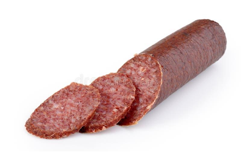 Smoked skivade salami arkivbild