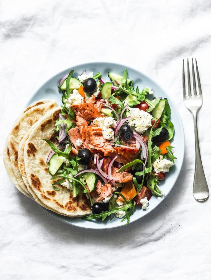 Free Smoked Trout Greek Salad On A Light Background, Top View. Healthy Mediterranean Diet Food Stock Photo - 166207350