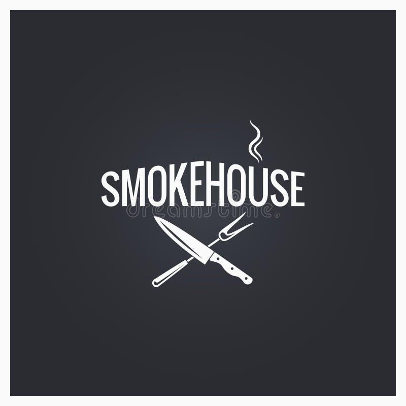 Smokehouse μαγειρεύοντας υπόβαθρο σχεδίου λογότυπων ελεύθερη απεικόνιση δικαιώματος