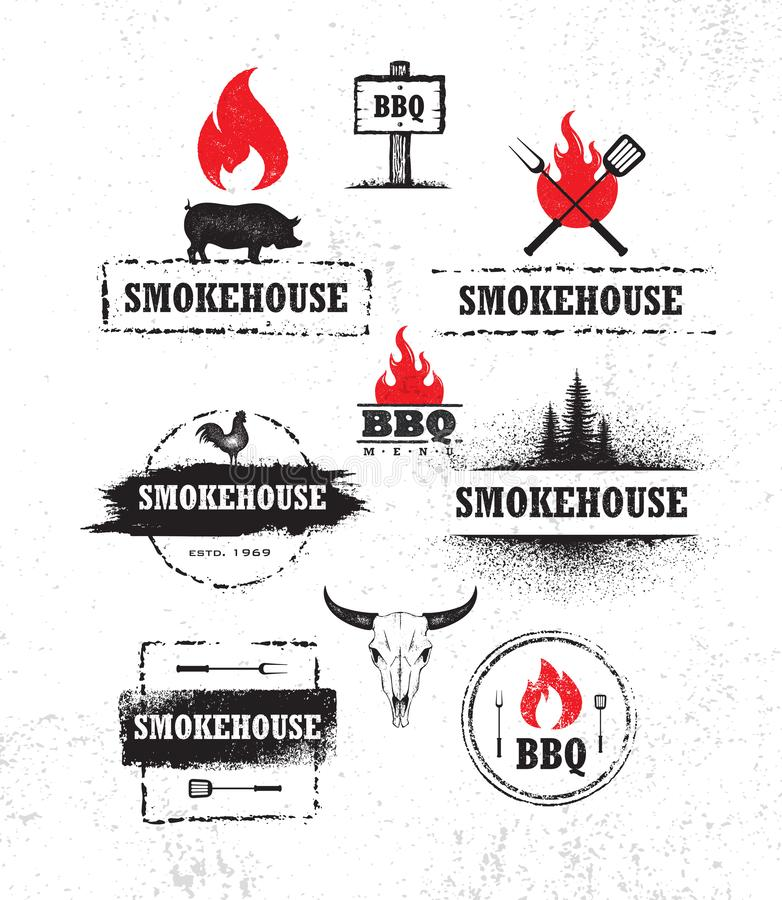 Smokehouse Barbecue Meat On Fire Menu Artisanal Vector Design Element. Outdoor Meal Creative Rough Sign. On Grunge Stained Background. Cow Skull With Fire vector illustration