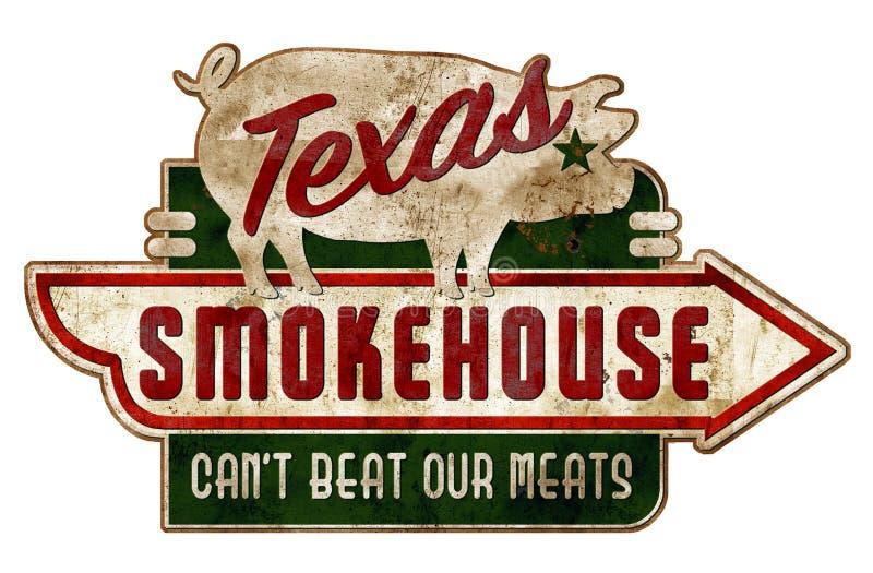 Smokehousetecken Texas Vintage Grunge Ribs Real royaltyfri illustrationer