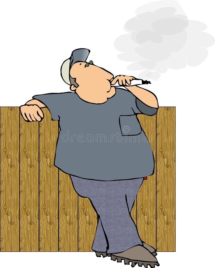 Download Smoker leaning on a fence stock illustration. Illustration of smoking - 156939