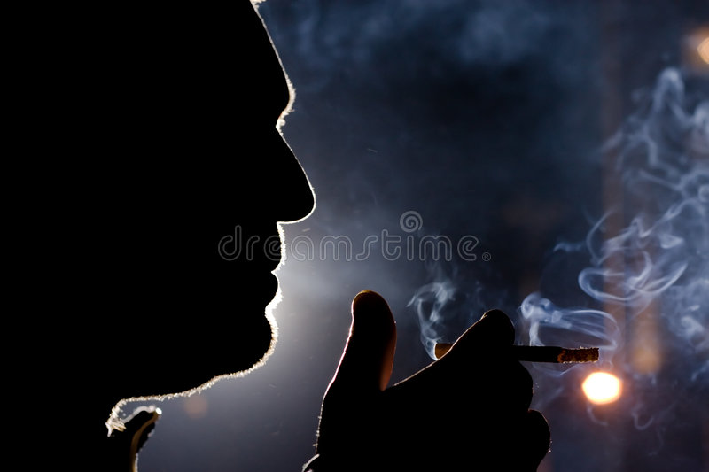 Download Smoker Silhouette stock image. Image of adult, close, light - 2079005