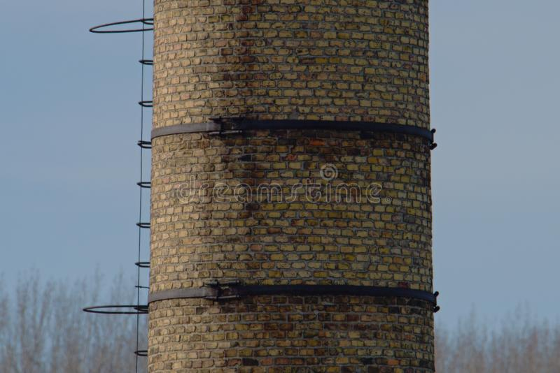 Smokestack of the old water pumping station. Station near the river Danube in Slovakia stock image