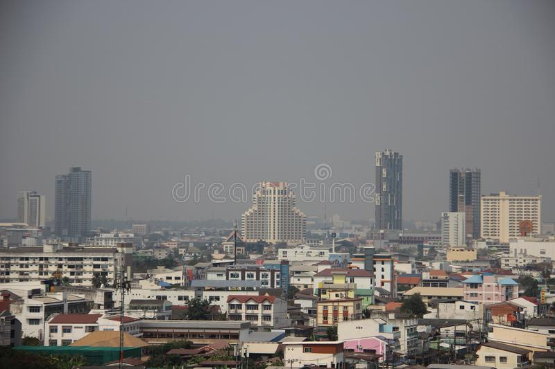 Smokey Air City View With-Smog Khon Kaen Van de binnenstad royalty-vrije stock afbeeldingen