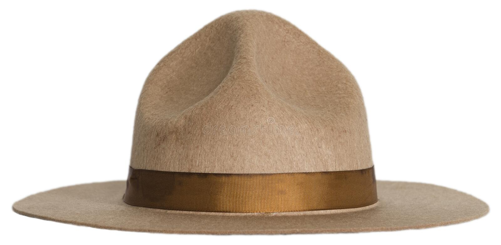 Smokey the Bear or Forest Ranger hat isolated. Smokey the bear style hat worn by a forest ranger, national park service employee, or a county sheriff. Isolated stock photography