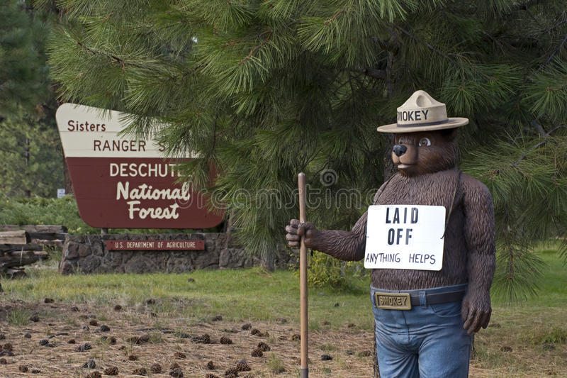 Smokey The Bear With Laid Off Sign Editorial Photo