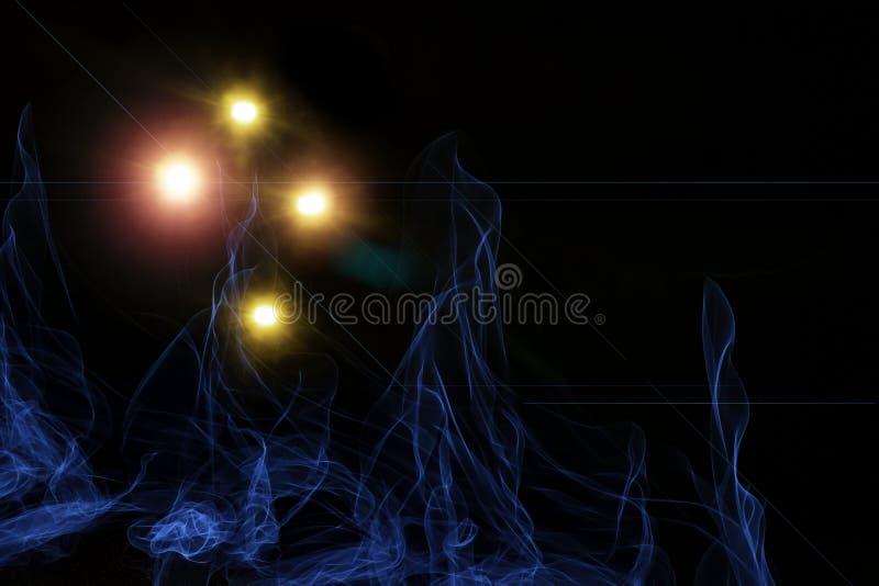 Smokey blauwe lichten met heldere flitsen die lens tot gloed leiden stock afbeeldingen