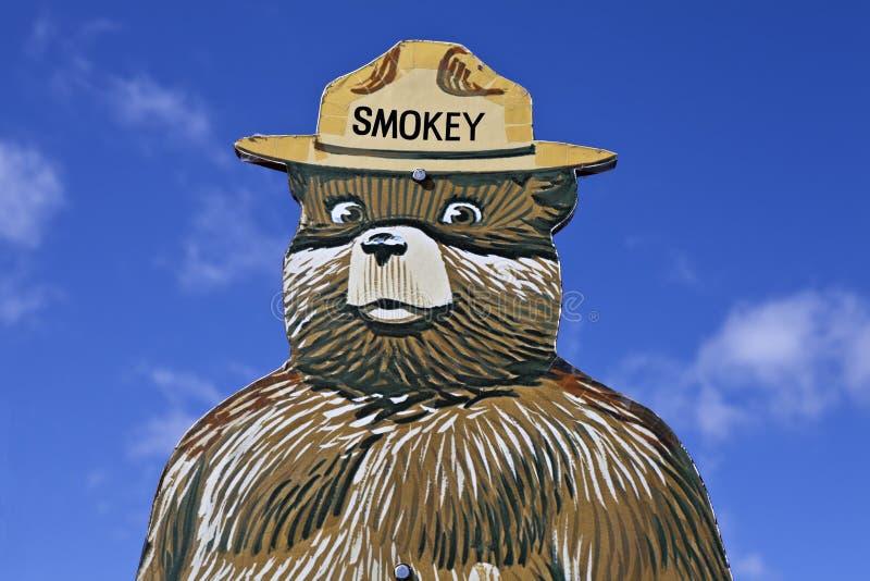Smokey das Bären-Feuerverhütung-Zeichen stockbilder