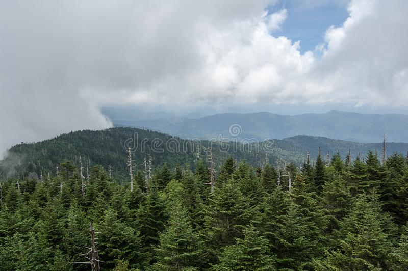 The Smokey Mountains from Clingman`s Dome stock images