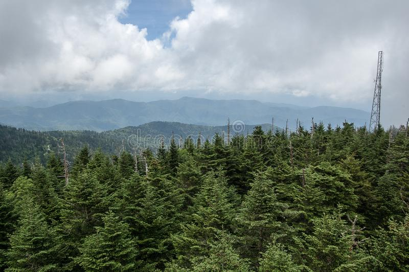 The Smokey Mountains from Clingman`s Dome stock photography