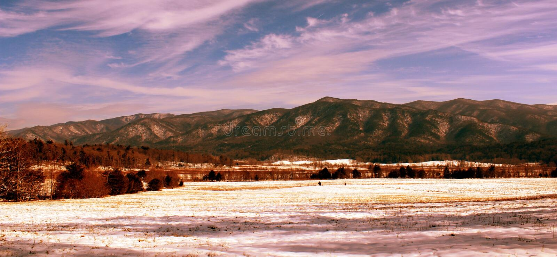 Smokey Mountains nevado foto de archivo