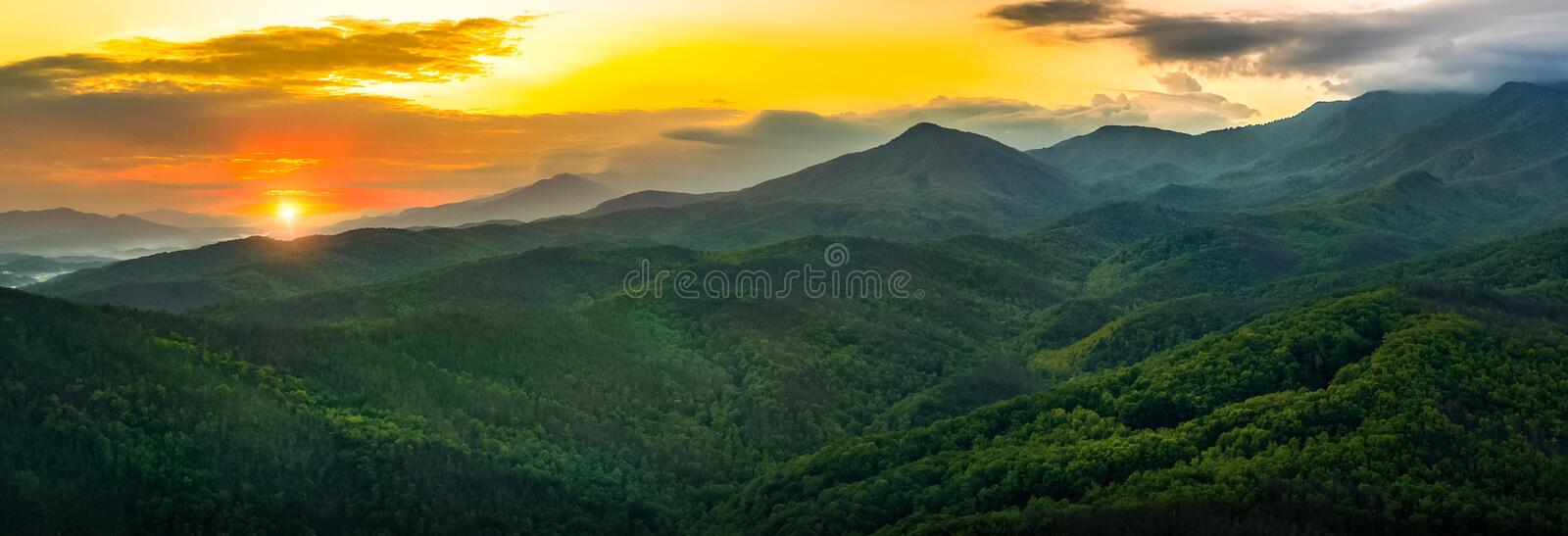 Smokey Mountains Sunset foto de stock royalty free