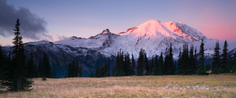 Smokey Sunrise Mt Rainier National Park Cascade Volcanic Arc royalty free stock image