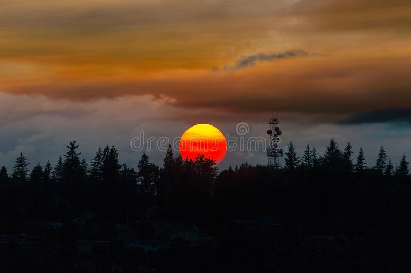 Smokey Sunset over Mount Scott in Happy Valley OR stock image