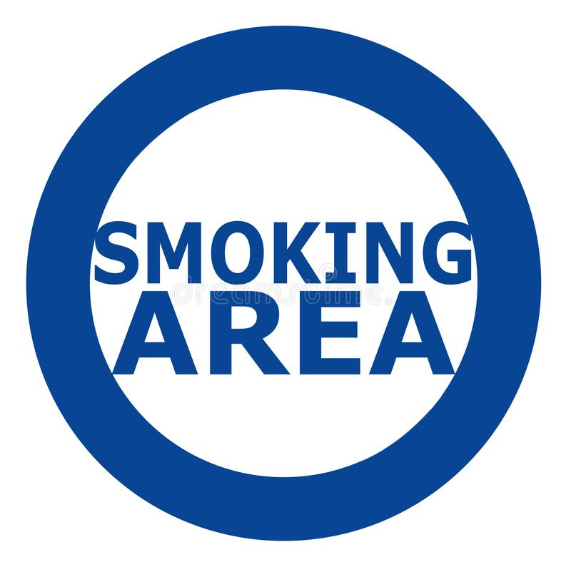 Smoking area sign in blue over white background. Simple and clean sign. stock illustration