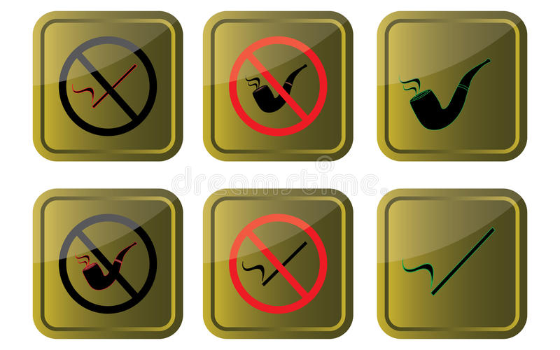 Smoking allowed/not allowed. Signs on gold background eps10 graphic stock illustration