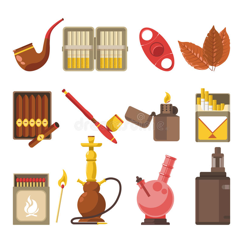Smoking appliances and cigarettes accessories vector flat isolated icons set stock illustration