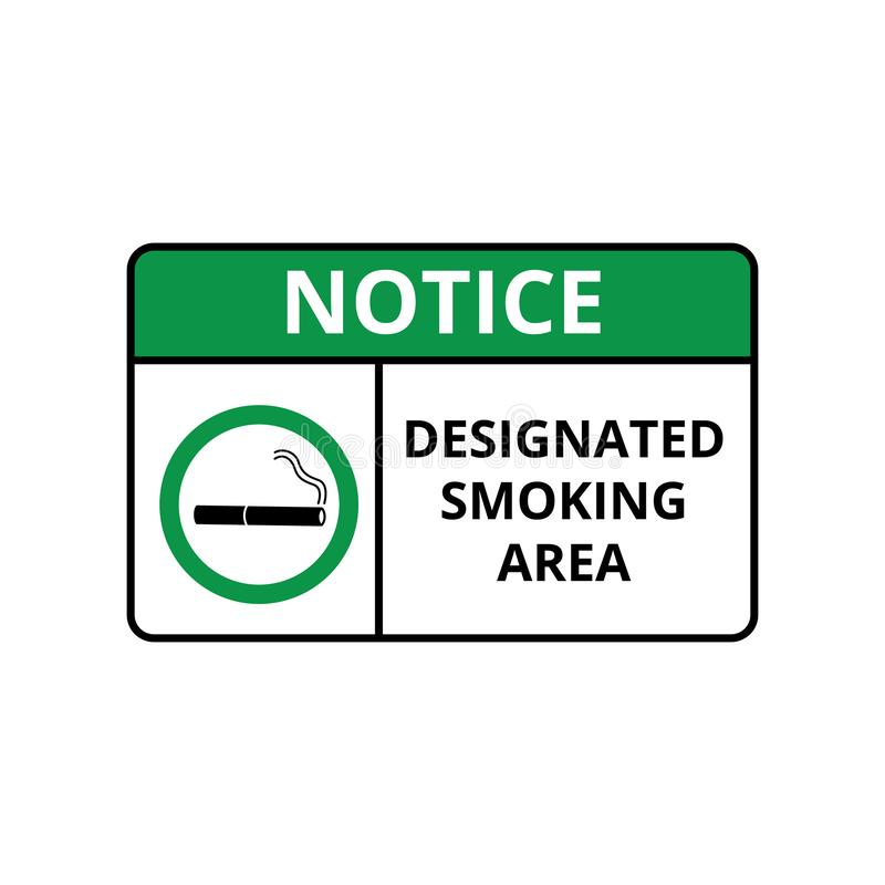 Smoking area notice for signboard or label the vector illustration isolated. royalty free illustration