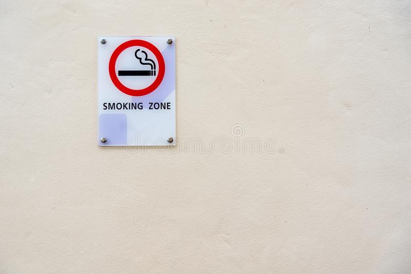Smoking area sign of D varee diva kiang haad beach hotel Hua Hin city Prachuab Khirikhan, Thailand stock photography
