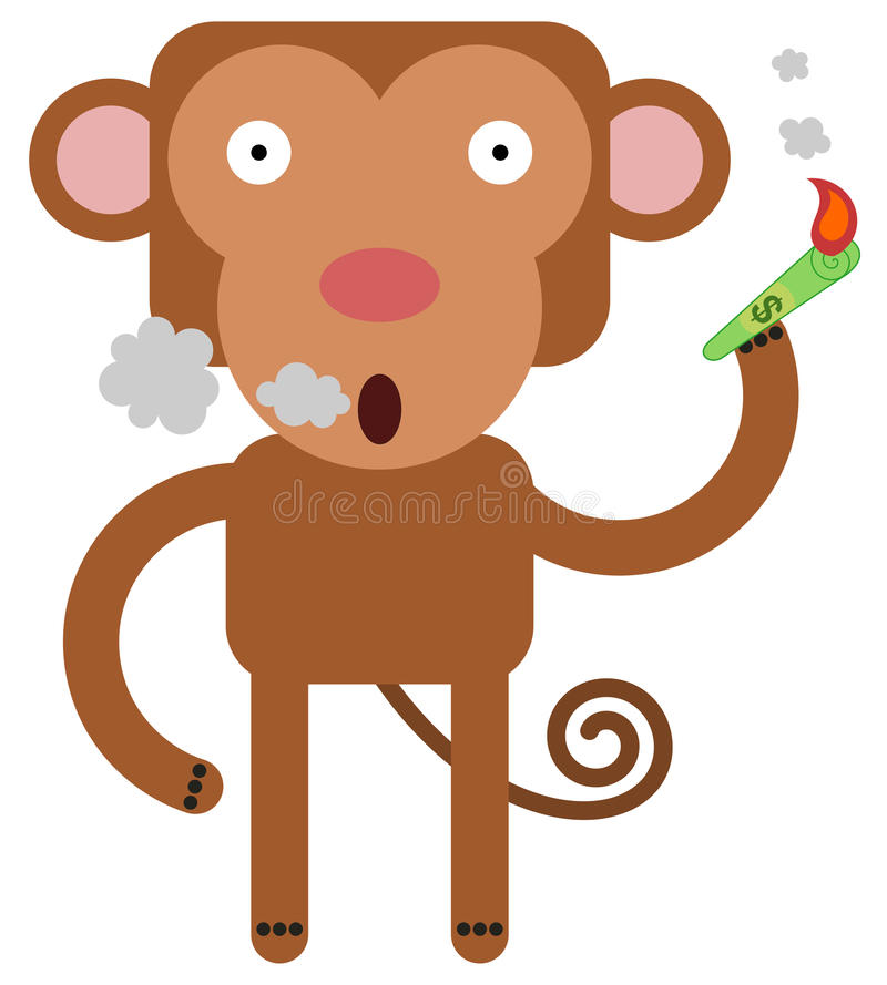 Smoking the bill. Illustration of a monkey using a dollar bill as a cigarette royalty free illustration