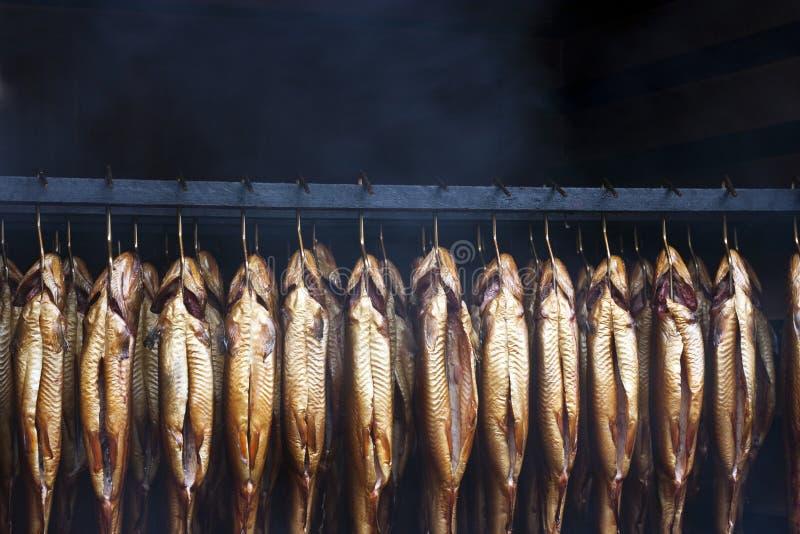Smoking brook trout fish royalty free stock photo