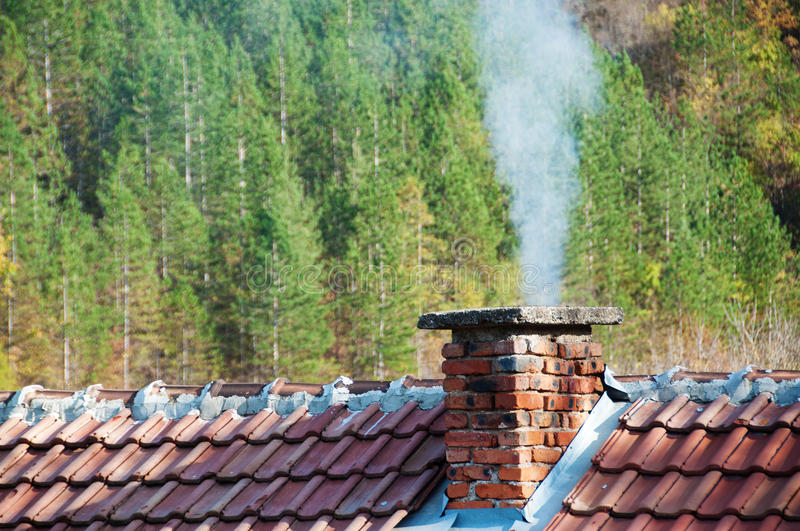 Smoking chimney. At forest background stock image
