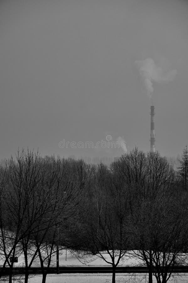 Smoking chimney. In Silesia, Wodzisław Śląski, Poland, Europe stock images