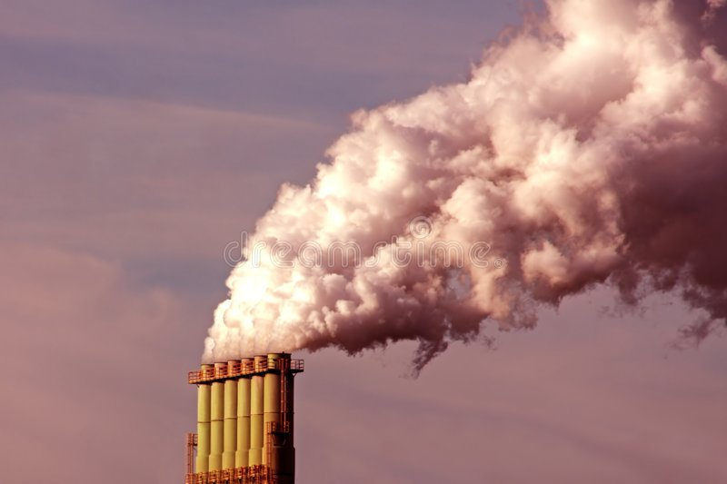 Download Smoking chimney at sunset stock image. Image of pollution - 7044237